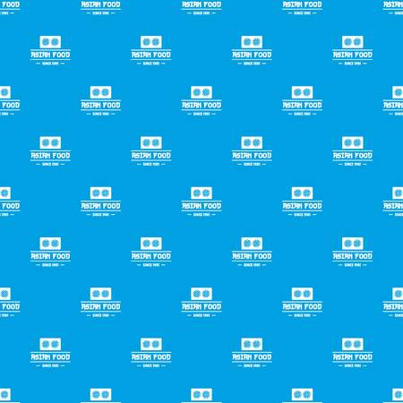Traditional asian food pattern vector seamless blue
