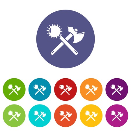 Medieval axe and mace icons set vector color Illustration