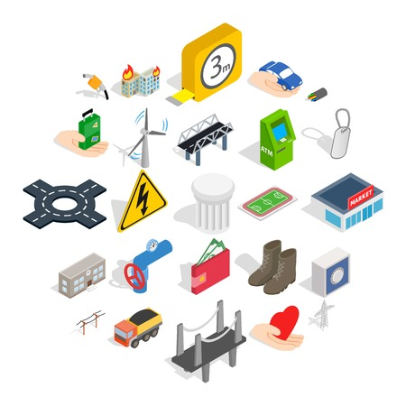 Electro business icons set, isometric style