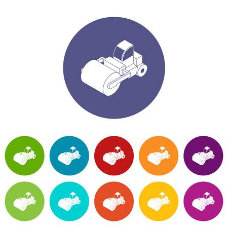 Roller truck icons color set vector for any web design on white background Vectores