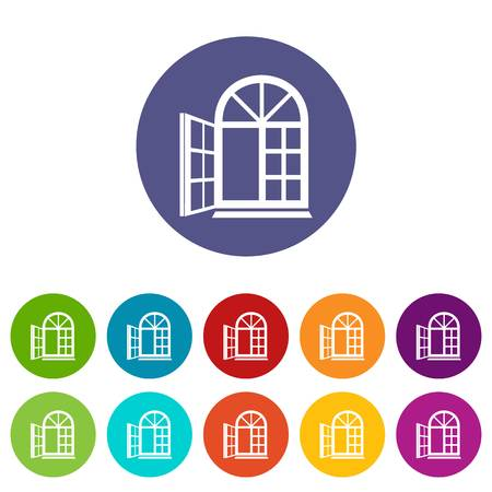 Window frame icons set vector color