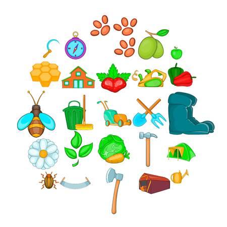 Kin icons set, cartoon style