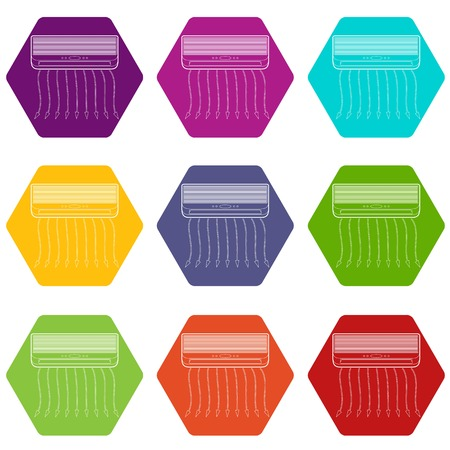 Conditioner icons 9 set coloful isolated on white for web