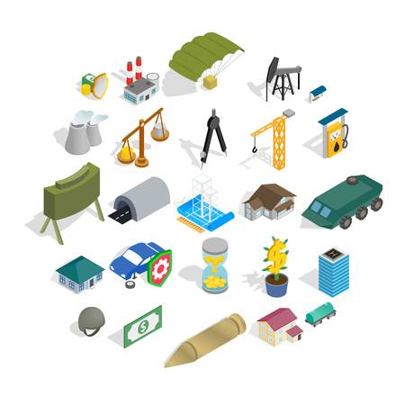 Small business icons set, isometric style