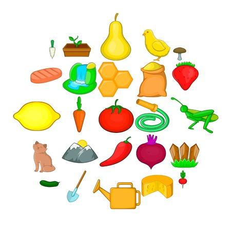 Household icons set, cartoon style