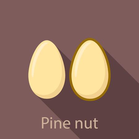 Pine nut icon. Flat illustration of pine nut vector icon for web design Ilustração