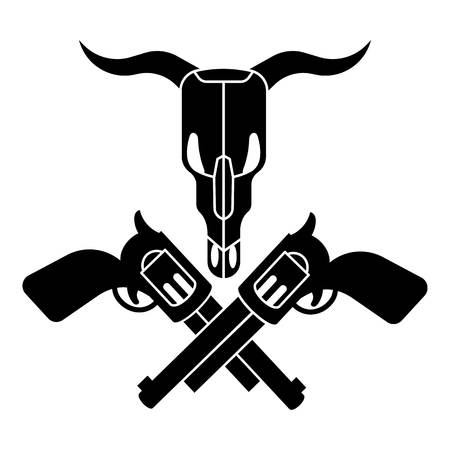 Cow skull cross revolver icon. Simple illustration of cow skull cross revolver vector icon for web design isolated on white background