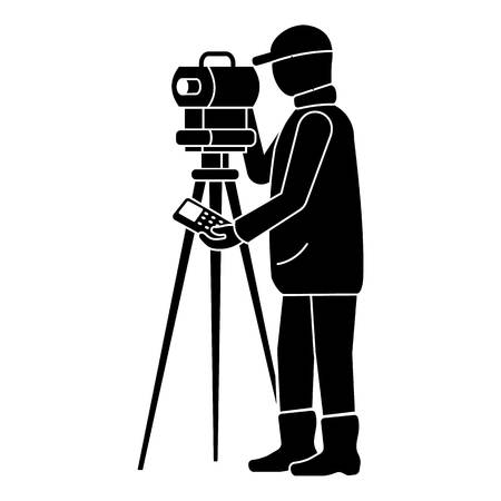 Icono de topógrafo de hombre. Ilustración simple del icono de vector de topógrafo de hombre para diseño web aislado sobre fondo blanco