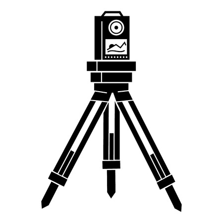 Surveyor instrument icon. Simple illustration of surveyor instrument vector icon for web design isolated on white background Çizim