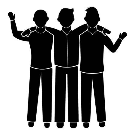 Three friend brotherhood icon. Simple illustration of three friend brotherhood vector icon for web design isolated on white background