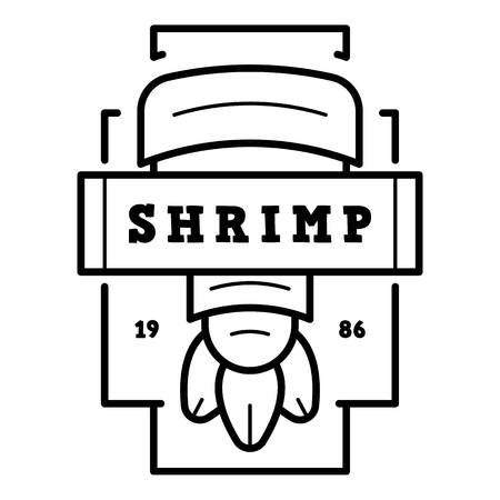 Outline fresh shrimp vector   for web design isolated on white background