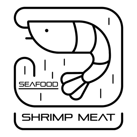 Outline seafood shrimp meat vector  for web design isolated on white background