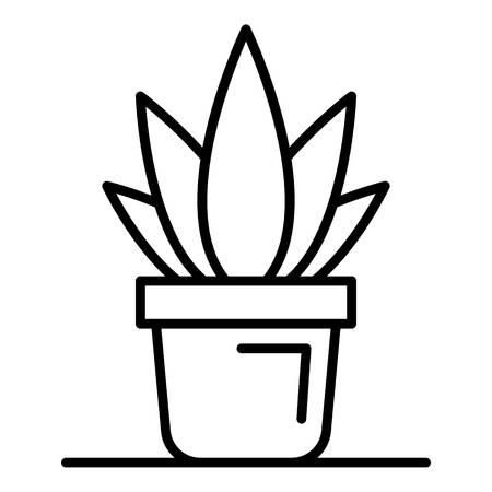 Office aloe vera pot icon. Outline office aloe vera pot vector icon for web design isolated on white background