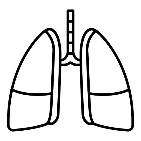Disease lungs icon. Outline disease lungs vector icon for web design isolated on white background