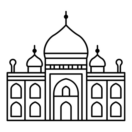 Muslim temple icon. Outline muslim temple vector icon for web design isolated on white background Illustration