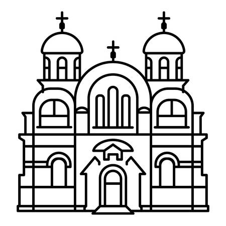 Christian temple icon. Outline christian temple vector icon for web design isolated on white background Vetores