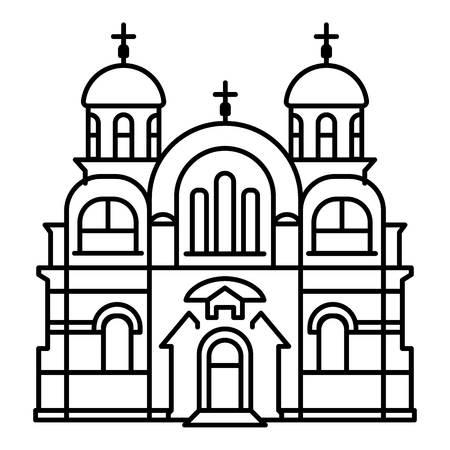 Icona del tempio cristiano. Delineare l'icona del vettore del tempio cristiano per il web design isolato su sfondo bianco Vettoriali