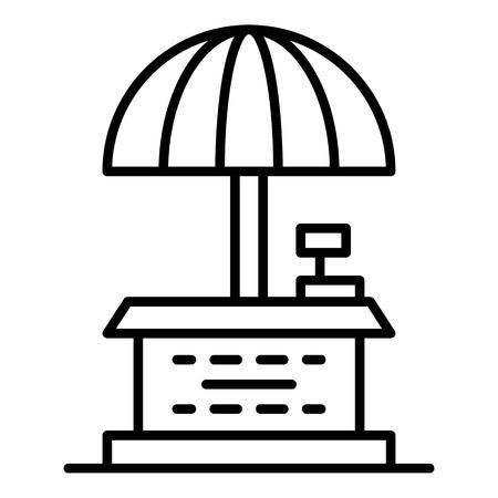 Icône de parapluie de magasin de rue. Contours street shop parapluie icône vecteur pour la conception web isolé sur fond blanc