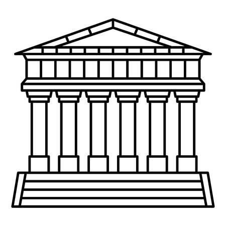 Italienische Tempelikone. Umreißen Sie das italienische Tempelvektorsymbol für das Webdesign, das auf weißem Hintergrund lokalisiert wird Vektorgrafik