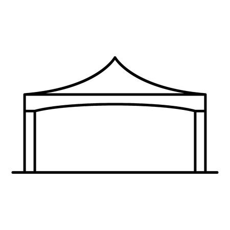 Folding tent icon. Outline folding tent vector icon for web design isolated on white background