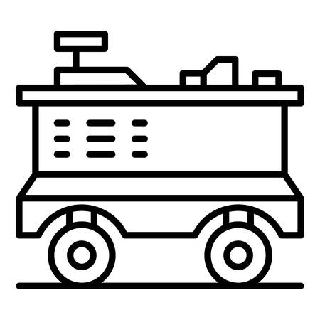 Shop cart icon. Outline shop cart vector icon for web design isolated on white background Illustration