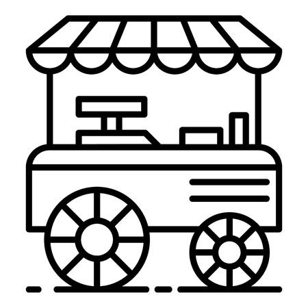 Burger shop cart icon. Outline burger shop cart vector icon for web design isolated on white background