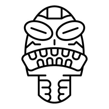 Angry tribal idol icon. Outline angry tribal idol vector icon for web design isolated on white background