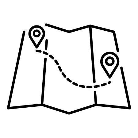 Icône d'itinéraire de carte de rafting. Contours rafting map route icône vecteur pour la conception web isolé sur fond blanc