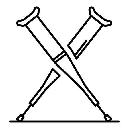 Icono de muletas. Esquema de muletas icono vectoriales para diseño web aislado sobre fondo blanco.