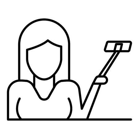 Frau bis Selfie-Stick-Symbol. Umreißen Sie die Frau mit dem Selfie-Stick-Vektorsymbol für das Webdesign isoliert auf weißem Hintergrund white Vektorgrafik