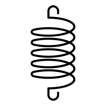 Symbol für die Spirale elastischer Spule. Umriss-Spiral-Elastikspulen-Vektorsymbol für Webdesign isoliert auf weißem Hintergrund Vektorgrafik