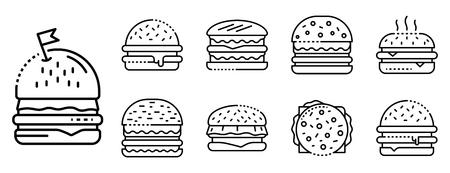 Burger-Symbole gesetzt. Umrisse von Burger-Vektorsymbolen für das Webdesign isoliert auf weißem Hintergrund