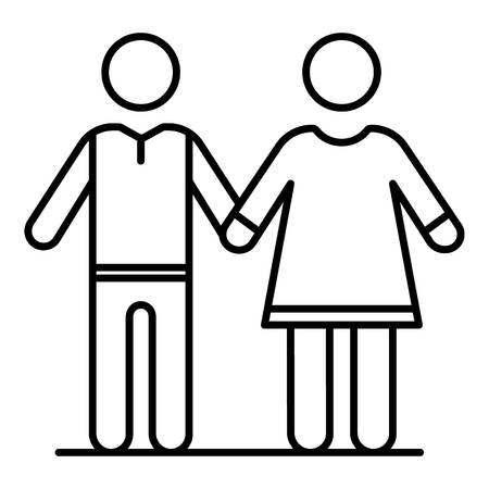 Senior couple icon. Outline senior couple vector icon for web design isolated on white background