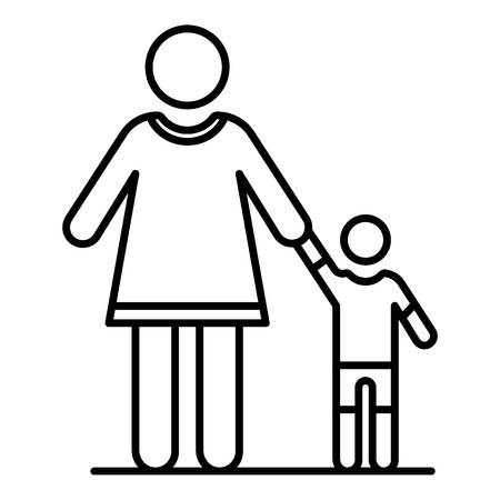 Grandmother with nephew icon, outline style