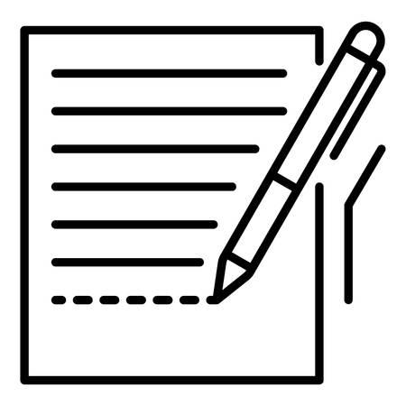 Pen homework paper icon. Outline pen homework paper vector icon for web design isolated on white background