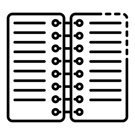 Coil notebook icon. Outline coil notebook vector icon for web design isolated on white background