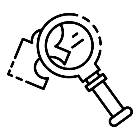 Magnify glass puzzle icon. Outline magnify glass puzzle vector icon for web design isolated on white background