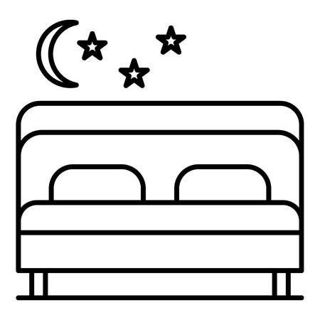 Pension bedroom icon. Outline pension bedroom vector icon for web design isolated on white background