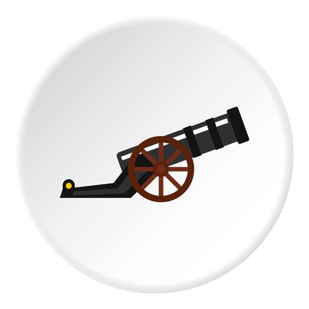 Ancient cannon icon in flat circle isolated illustration for web Stock Photo
