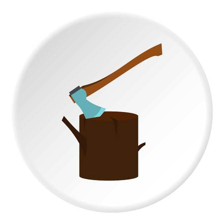 Stump with axe icon in flat circle isolated illustration for web Stock Photo