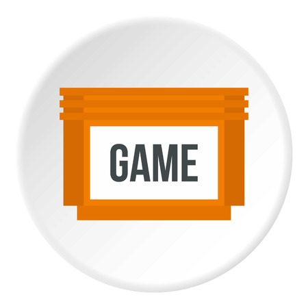 Games floppy disk icon in flat circle isolated illustration for web 版權商用圖片