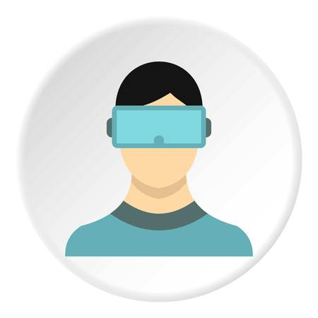 Virtual reality glasses icon in flat circle isolated illustration for web