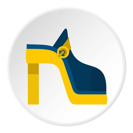 Women shoe icon in flat circle isolated illustration for web Stock Photo