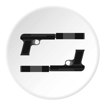 Gun icon in flat circle isolated illustration for web Stock Photo