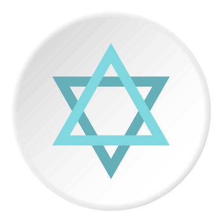 Star of David icon in flat circle isolated illustration for web Stock Photo