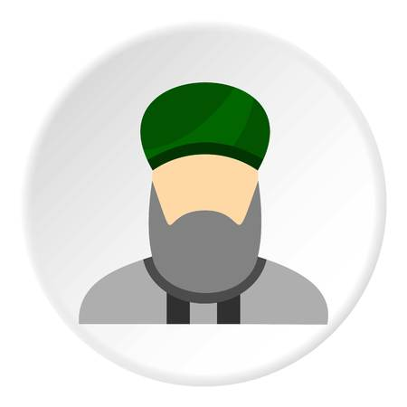 Islamic priest icon in flat circle isolated illustration for web