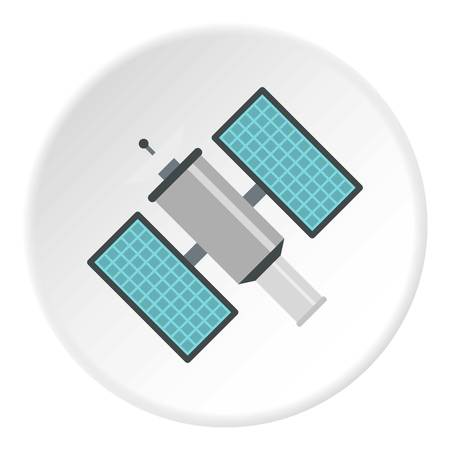 Satelite icon in flat circle isolated illustration for web