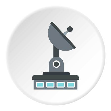 Observatory icon in flat circle isolated illustration for web