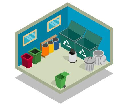 Bandiera del concetto di cestino. Banner isometrico del concetto di vettore di spazzatura per web, giftcard e cartolina