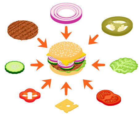 Burger concept banner. Cartoon banner of burger vector concept for web, giftcard and postcard